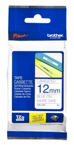Brother P-Touch TZE-233 12mm Blue on White Laminated Label Tape