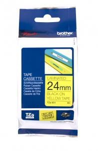 Brother P-Touch TZE-651 24mm Black on Yellow Laminated Label Tape