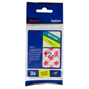 Brother P-Touch TZE-MPRG31 12mm Black on Red Gingham Laminated Label Tape