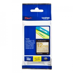 Brother P-Touch TZE-PR234 12mm Gold on White Glitter Premium Laminated Label Tape