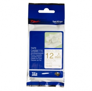 Brother TZE-R234 12mm Gold on White Non Laminated Ribbon Label Tape