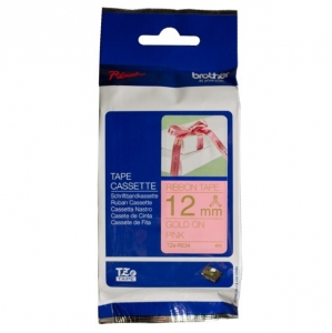Brother P-Touch TZE-RE34 12mm Gold on Pink Non Laminated Ribbon Label Tape