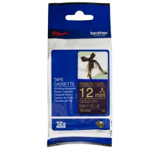 Brother P-Touch TZE-RN34 12mm Gold on Navy Blue Non Laminated Ribbon Label Tape