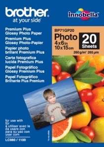 Brother 6x4 Premium Glossy Photo Paper 20 Sheets