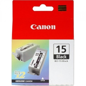 Canon BCI-15BK Black Ink Cartridge - Twin Pack