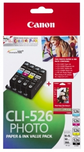 Canon CLI-526 Ink Cartridge Photo Value Pack - Black, Cyan, Magenta, Yellow & Photo Paper