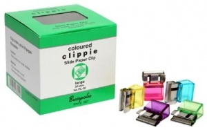 Clippie Large Coloured Slide Paper Clips - 50 Pack