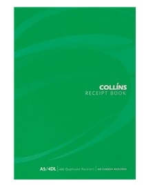 Collins A5 4 Per Page Receipt Duplicate NCR Book - 100 Leaf