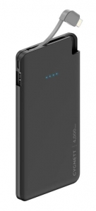 Cygnett ChargeUp Pocket 4000mAh USB Portable Power Bank with Lightning Cable - Black