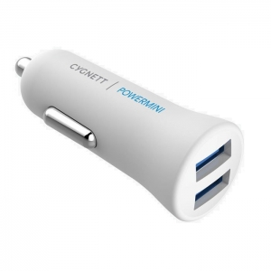 Cygnett PowerMini 2.4A Dual USB Car Charger - White