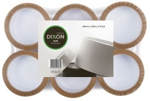 Dixon Tan Packaging Tape 48mm X 50m - 6 Pack