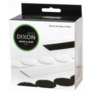 Dixon Hook & Loop 22mm White Velcro Spots - 62 Pack