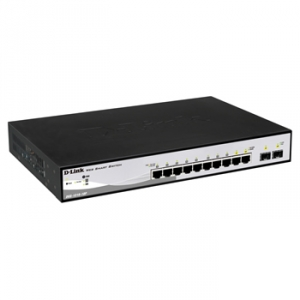 D-Link DGS-1210-10P 10-Port 10/100/1000 Gigabit PoE WebSmart Switch with 2 Combo 1000BASET/SFP Ports