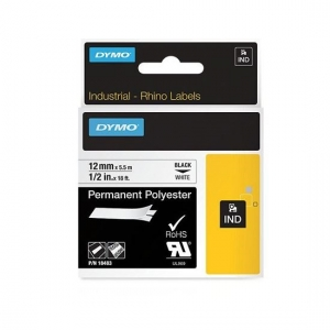 Dymo 12mm x 5.5m Genuine Rhino Industrial Permanent Polyester Labels - Black On White