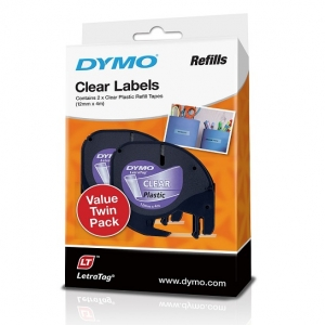 Dymo 12mm Genuine LetraTag Plastic Clear Labels - 2 Pack