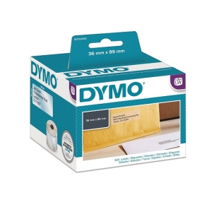 Dymo 36mm x 89mm LabelWriter Large Address Labels Black on Clear - 260 Labels/Roll
