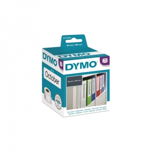 DYMO LW 59mm x 190mm Black on White Large Lever Archive File Label Roll