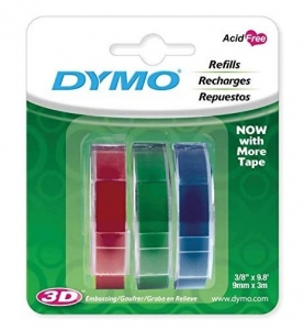Dymo 9mm x 3m Genuine Embossing Label Tape - 3 Colour Pack
