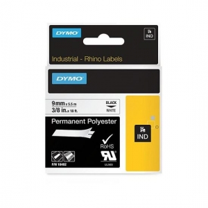 Dymo 9mm x 5.5m Genuine Rhino Industrial Permanent Polyester Labels - Black On White