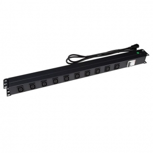 Dynamix 10 Outlet 10A Vertical Power Rail with 6kVA Circuit Breaker