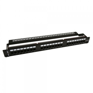 DYNAMIX 24 Port 19 Inch Cat6 UTP Patch Panel w/ Plastic labelling kit. Rear Support Bar