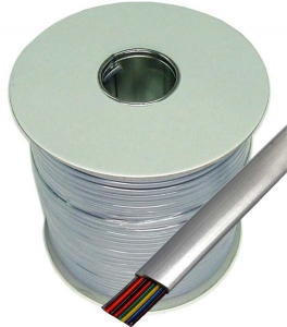 Dynamix 300M Roll 8 Wire Flat Cable. Silver colour supplied on a reel
