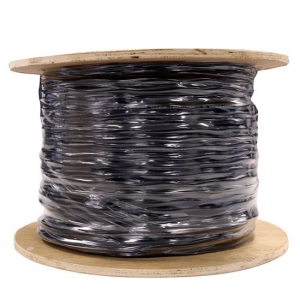 Dynamix 305m Black Cat5E UTP Solid UV Stabilised Dual Sheath Outdoor Cable Roll - Supplied on a Wooden Reel