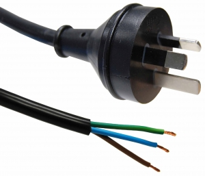 Dynamix 1M 3 Pin Plug to Bare End, 3 Core 1mm Cable, Black Colour SAA Approved