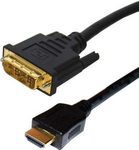 Dynamix 1M HDMI Male to DVI-D Male (18+1) Cable. Single Link