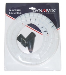 Dynamix 2.5 Meter x 20 mm Easy Wrap - Cable Management Solution, Clear Colour