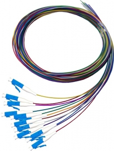 Dynamix 2M LC Pigtail OS1 12 Pack Colour Coded, 900um Single mode Fibre, Tight buffer