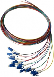 DYNAMIX 2M LC Pigtail OM1 12 Pack Colour Coded, 900um Multimode Fibre, Tight buffer