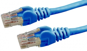 DYNAMIX 15M Cat6 Blue UTP Patch Lead (T568A Specification) 550MHz Slimline Snagless Molding Cable