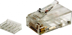 Dynamix Cat 6 RJ-45 8P8C 2 Piece Modular Plug (Rounded Solid) 50 micron - 20 Pack