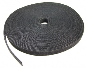 Dynamix Hook & Loop 20m x 25mm Black Dual Sided Roll