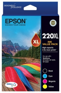 Epson DURABrite Ultra 220XL High Yield Ink Cartridge Value Pack - Black, Cyan, Magenta, Yellow