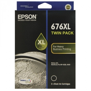 Epson 676XL Black DURABrite Ultra Ink Cartridge - Twin Pack