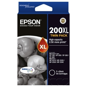 Epson DURABrite Ultra 200XL Black High Yield Ink Cartridge - Twin Pack