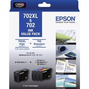 Epson DuraBrite Ultra 702XL Black + 702 Colours Ink Cartridge Value Pack - High Yield Black + Standard Cyan Magenta Yellow