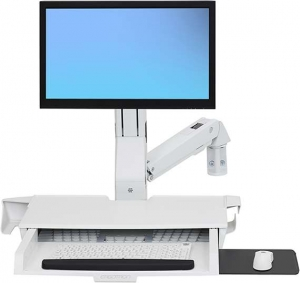 Ergotron StyleView Sit-Stand Combo Arm with Worksurface - White