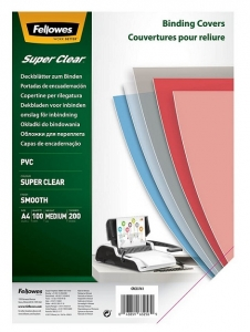 Fellowes A4 200 Micron Binding Covers Clear - 100 Pack