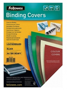 Fellowes A4 250gsm Leatherboard Binding Covers  Black - 100 Pack