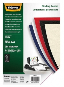 Fellowes A4 250gsm Leatherboard Binding Covers  Royal Blue - 100 Pack