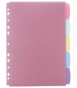 File Master A4 Write On Plastic Coloured Indices - 5 Tabs