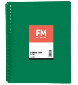 File Master 20 Pocket Refillable A4 Display Book with Insert Cover - Green