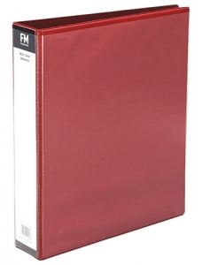 File Master A4 PVC Insert Cover 3/26 Ring Binder Red