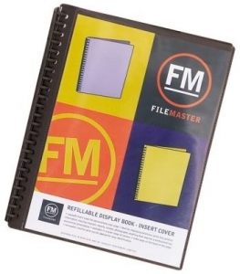 File Master 40 Pocket Refillable A4 Display Book with Insert Cover - Black