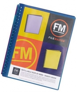 File Master 40 Pocket Refillable A4 Display Book with Insert Cover - Blue