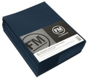 File Master Double Pocket Presentation Folder 50 Pack Navy