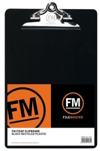 File Master Recycled Plastic Black Clipboard